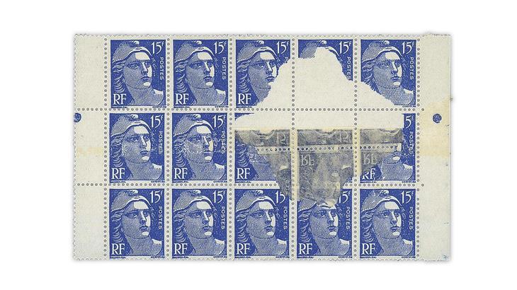 france-1951-marianne-gandon-block-preprinting-paper-repair