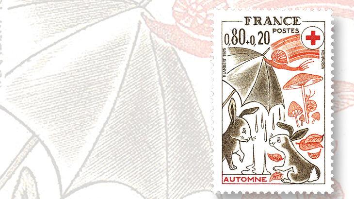 france-1975-red-cross-seasons-snail-stamp