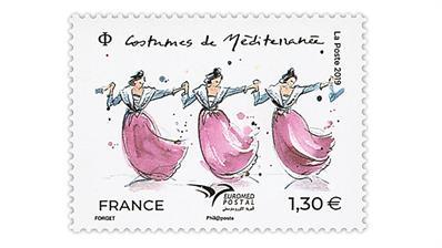 france-2019-euromed-mediterranean-costumes-stamp