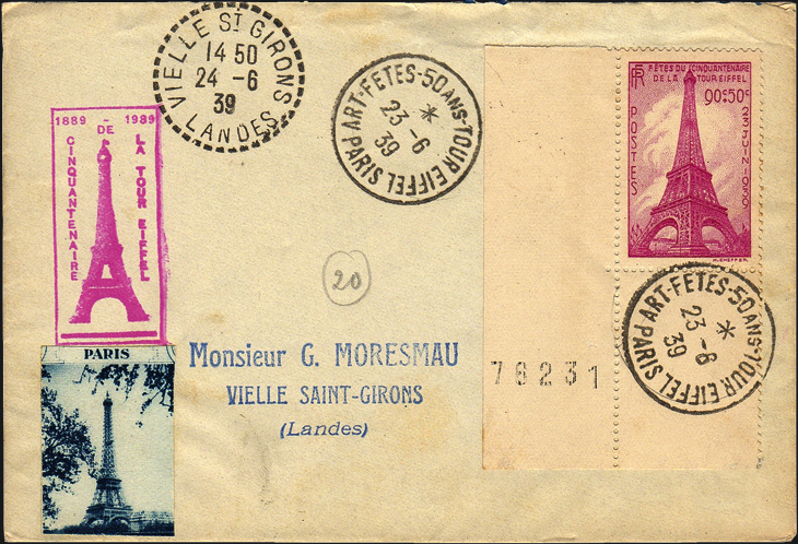 france-eiffel-tower-1939-semipostal-stamp-50th-anniversary-cover