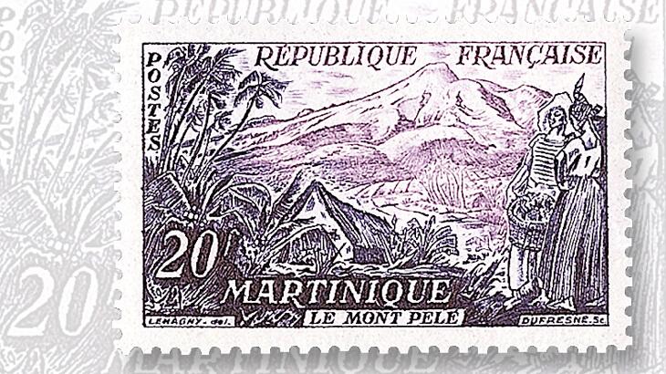 france-stamp-mount-pelee-martinique