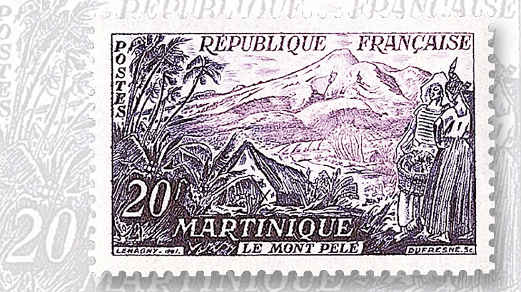 france-stamp-mount-pelee-martinique