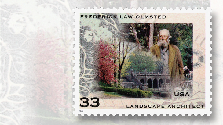 Kết quả hình ảnh cho Frederick Law Olmsted stamp