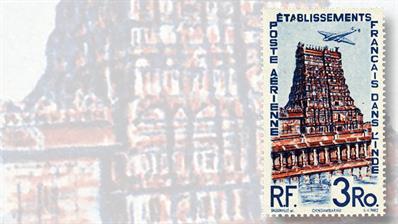 french-india-three-rupie-temple-chindambaram-airmail-stamp