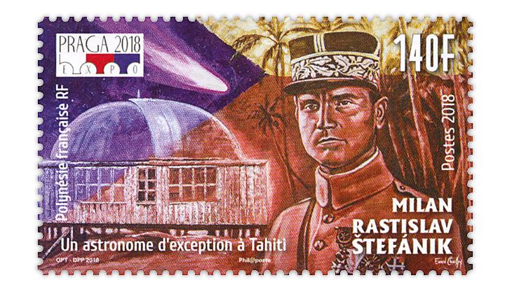 french-polynesia-milan-rastislav-stefanik-tahiti-observatory-stamp