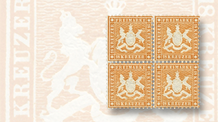 gaertner-wurttemberg-1863-18-kreuzer-orange-block-four