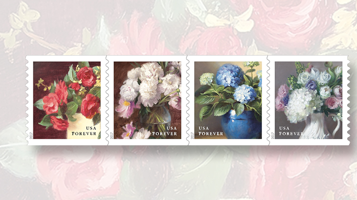 garden-forever-stamps-four-flowers-coil-strip-plate-number