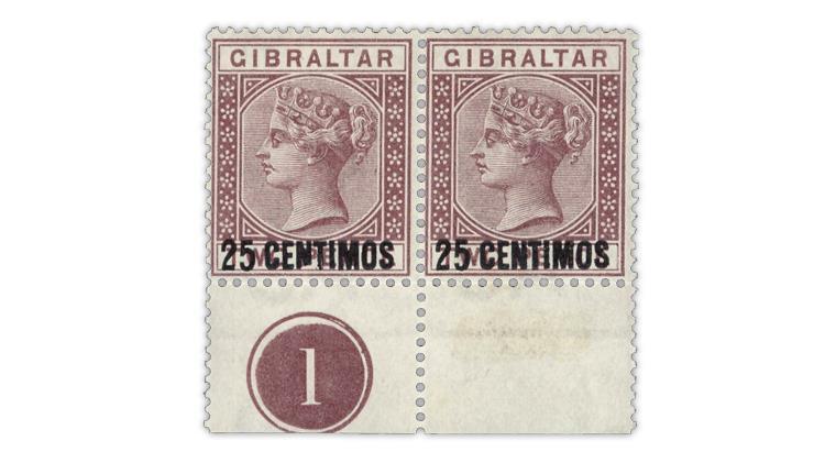 gibraltar-1889-queen-victoria-stamp-pair-broken-n-surcharge-variety