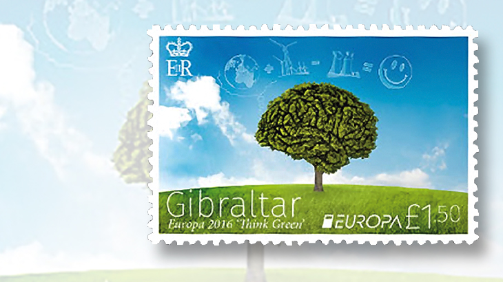 gibraltar-green-brain-europa-stamp
