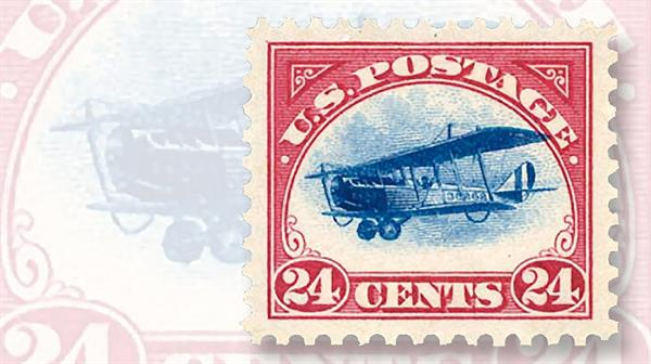 grade-100-1918-24-cent-curtiss-jenny-airmail-stamp