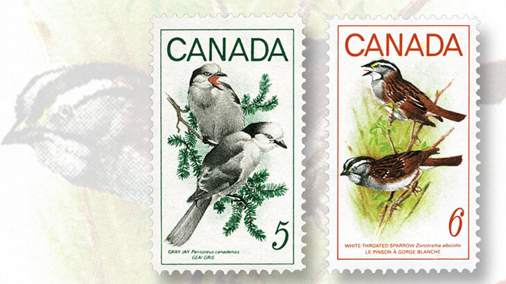 gray-jays-white-throated-sparrows-stamps