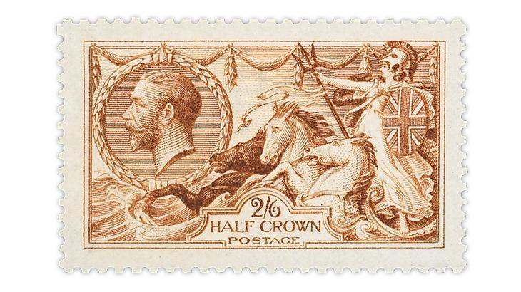 great-britain-1915-intense-bright-reddish-cinnamon-brown-seahorse-stamp