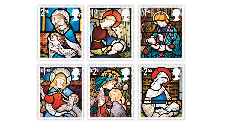 British Christmas Stamps 2020 Britain's Christmas stamps capture the beauty of stained glass windows