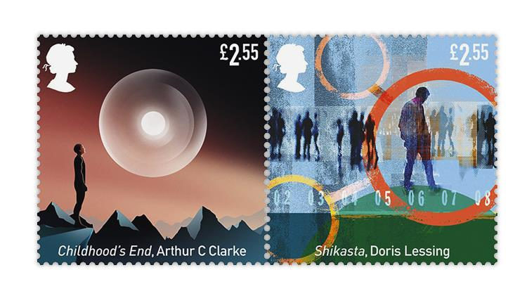 great-britain-2021-science-fiction-stamps-childhood's-end-shikasta