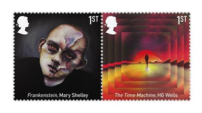 great-britain-2021-science-fiction-stamps-frankenstein-time-machine