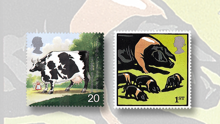 great-britain-animals-stamps-cow-pigs
