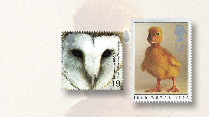 great-britain-animals-stamps-owl-duckling