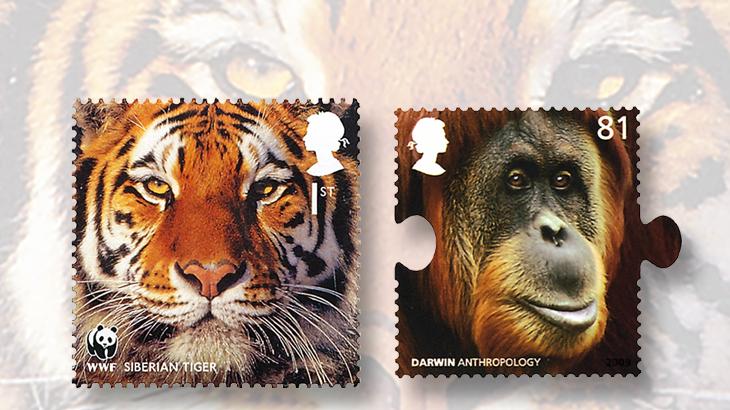 great-britain-animals-stamps-tiger-orangutan