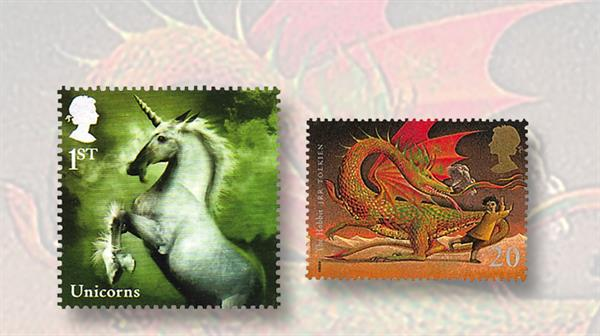great-britain-animals-stamps-unicorn-dragon