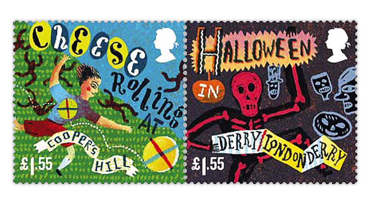 great-britain-curious-customs-stamps-cheese-rolling