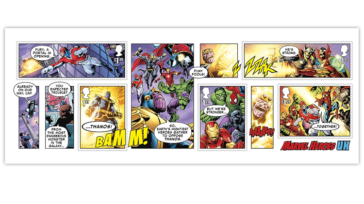Great Britain Marvel Heroes souvenir sheet