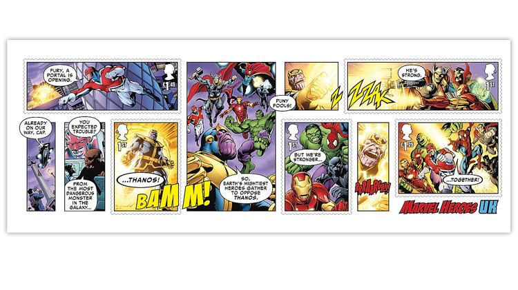 Great Britain Marvel Heroes souvenir sheet