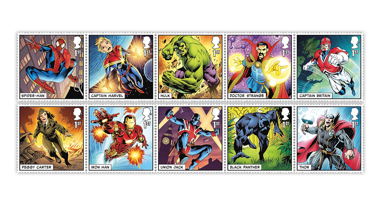 Great Britain Marvel stamps
