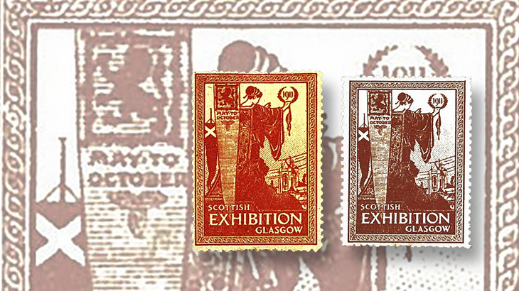 great-britain-philately-1911-glasgow-exhibition-cinderella-orange-mauve-colors