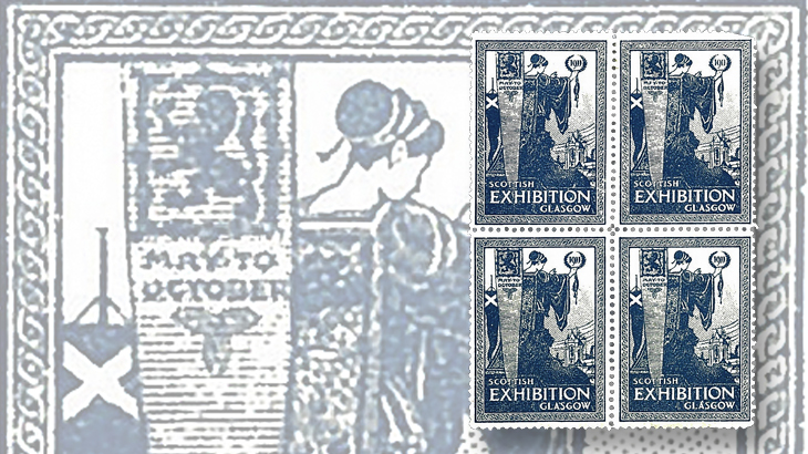 great-britain-philately-1911-glasgow-exhibition-label-block-of-four