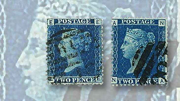great-britain-philately-2-penny-blue-check-numbers-thin-thick-white-lines
