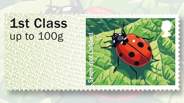 Royal Mail ladybug postage label