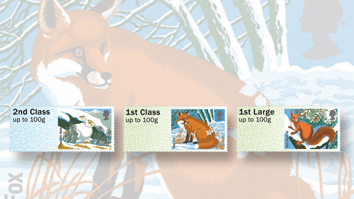 great-britain-winter-fur-and-feathers-post-and-go-labels-hare-fox-squirrel