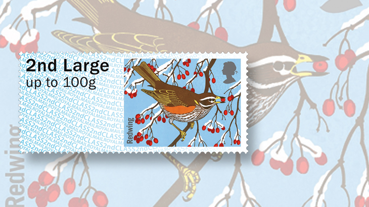 great-britain-winter-fur-and-feathers-post-and-go-labels-redwing-bird