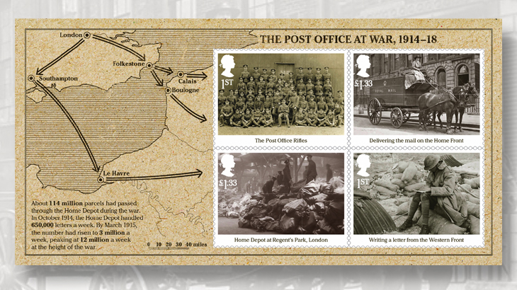 Great britain stamps focusing on wwi events of 1916 - Great britain post office ...