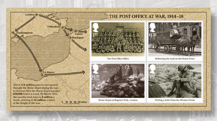 great-britain-world-war-1-souvenir-sheet-1916-post-office-rifles-battalion