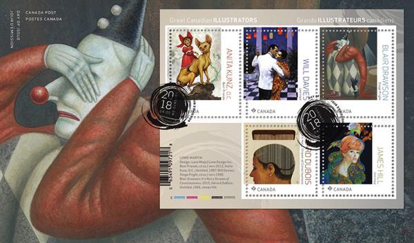 great-canadian-illustrators-stamp-sheet