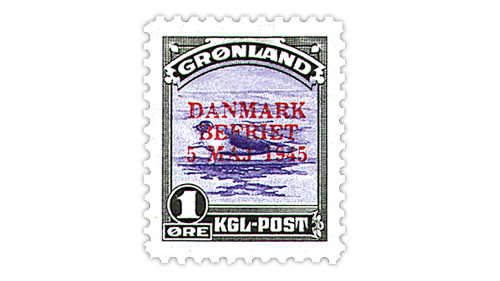 greenland-1945-American-issue-overprint-stamp