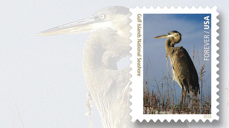 gulf-islands-national-seashore-heron-stamp