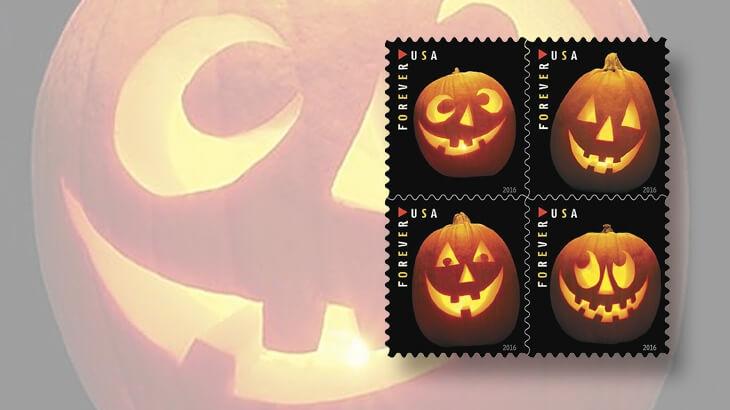 Halloween jack-o'-lantern stamps