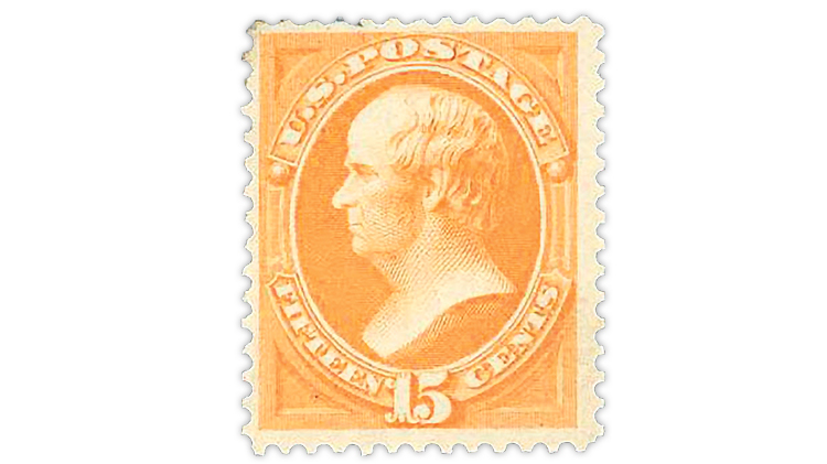 Harmer-Schau U.S. 1870 orange Daniel Webster stamp with I grill