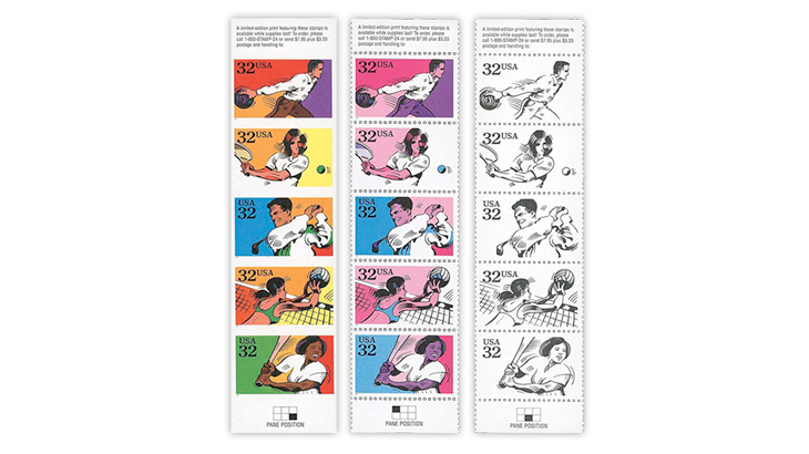 Harmer-Schau U.S. 1995 Recreational Sports stamp error strips