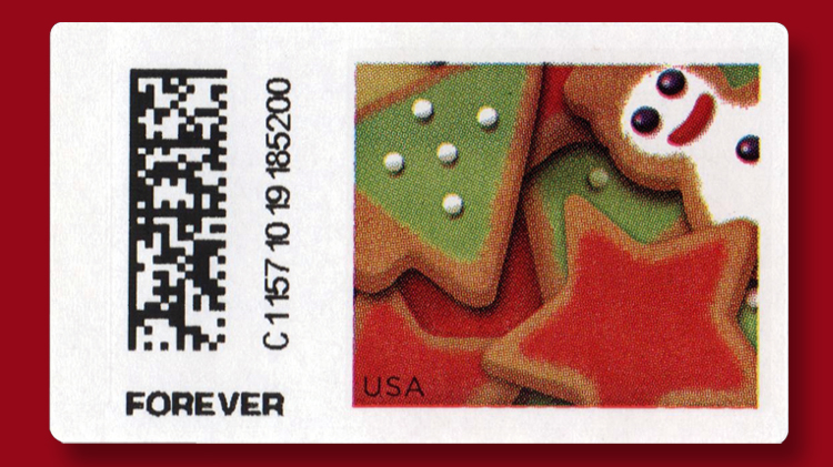 a new forever postage label with a holiday cookies design is now vending from self service kiosks at selected united states post offices