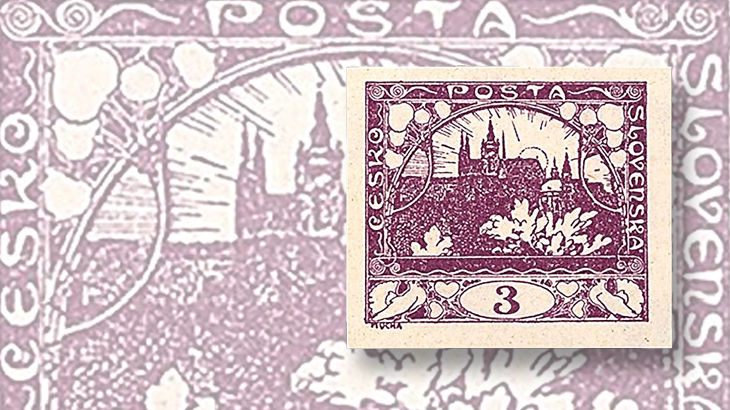 hughes-mucha-czechoslovakia-hradcany-first-issue
