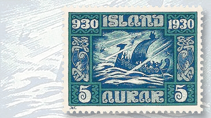 iceland-althing-millennium-viking-ship-stamp