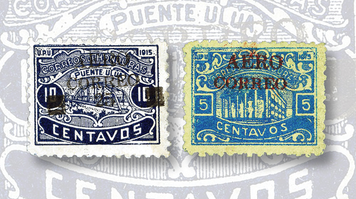 international-exhibitions-black-red-honduras-airmail-stamps