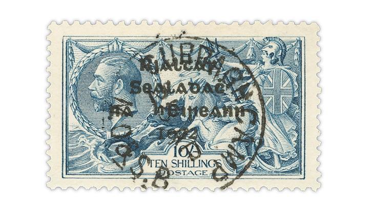 ireland-1922-gray-blue-10-shilling-seahorses-stamp