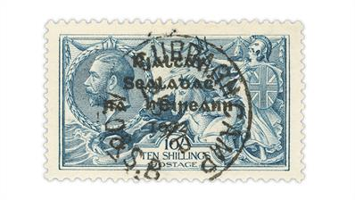 ireland-1922-gray-blue-10-shilling-seahorses-stamp