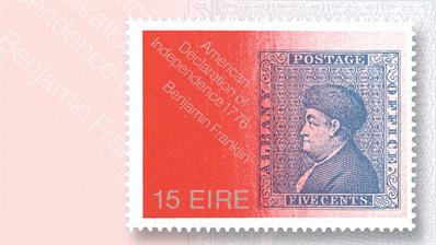 ireland-1976-fifteen-penny-stamp-american-bicentennial-benjamin-franklin