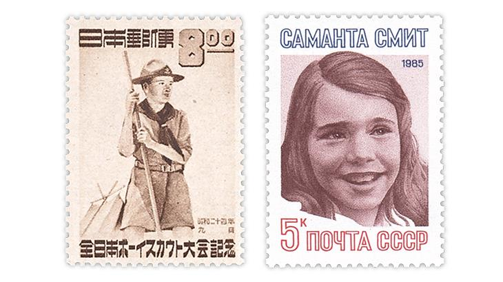japan-1949-george-russell-soviet-union-1985-samatha-smith-stamps