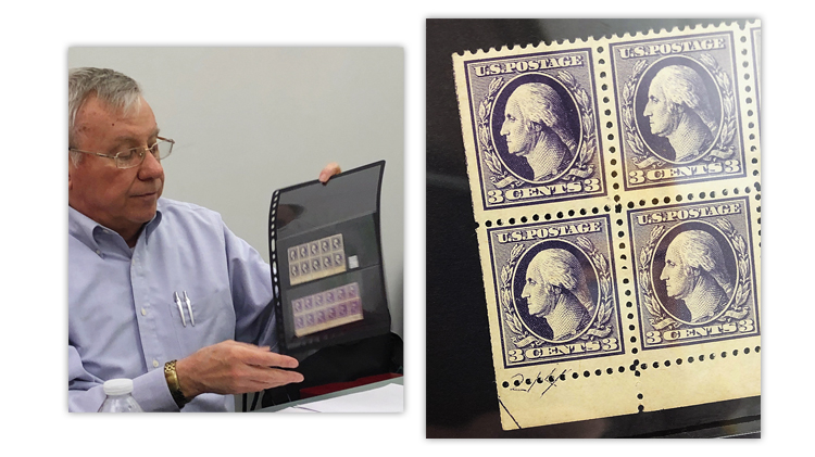 Chicago Philatelic Society Member Jerry Nylander Shows Off A Stock Sheet Of Two Blocks United States George Washington Stamps With Markings In The
